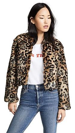 145770df78ec Jocelyn Women's Longhair Rabbit Fur Jacket, Leopard, Print, Tan, X-Small