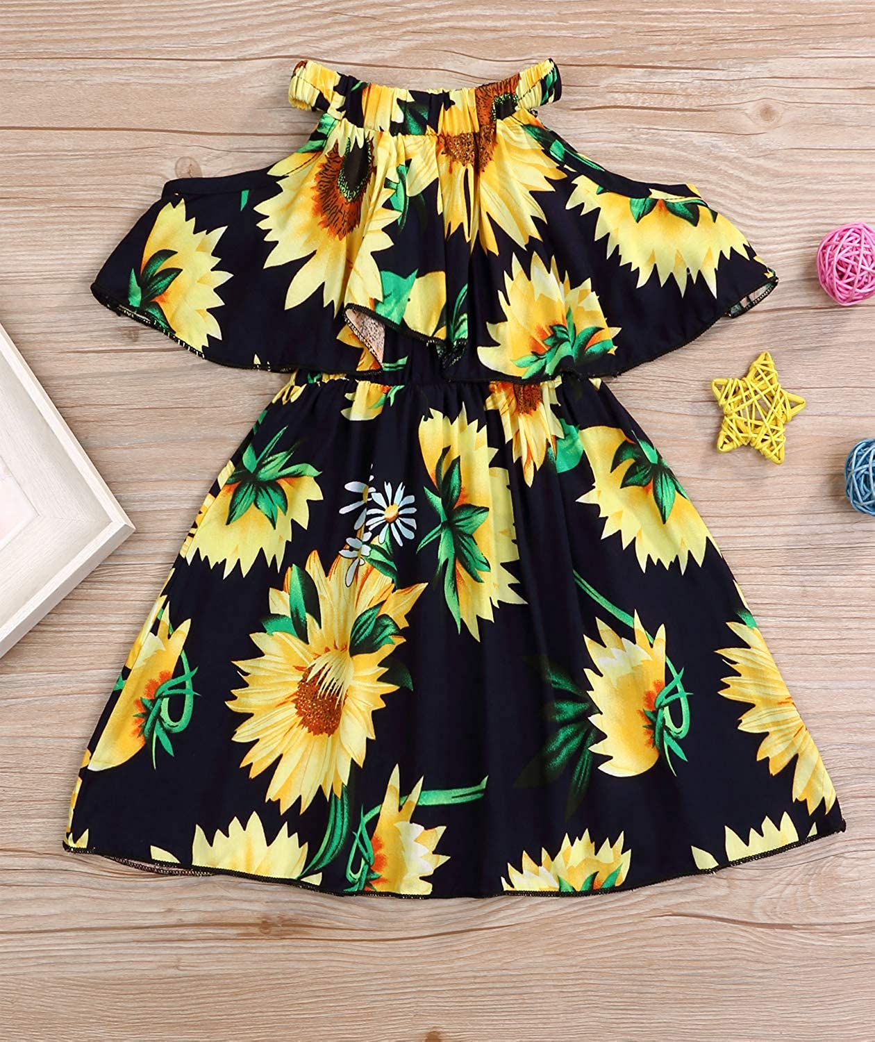 YOUNGER TREE Toddler Baby Girl Dress Sunflower Outfits Off The Shoulder Ruffle Boho Beach Skirts Sundress Summer Cloth 6M-3T