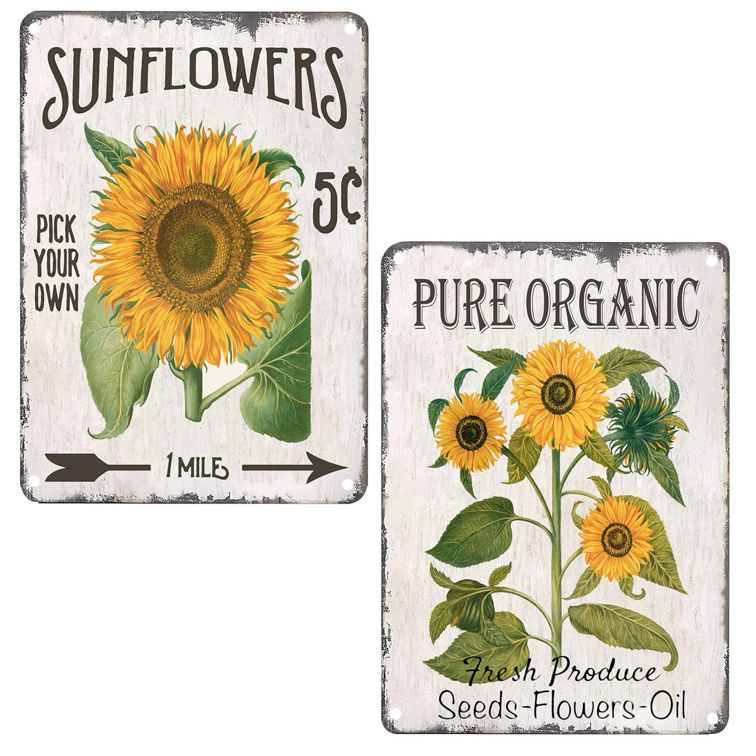 TISOSO Pure Organic Sunflower Retro Vintage Tin Bar Sign Country Home Decor for Home Living Room Bedroom Decoration 2 Piece 8X12Inch