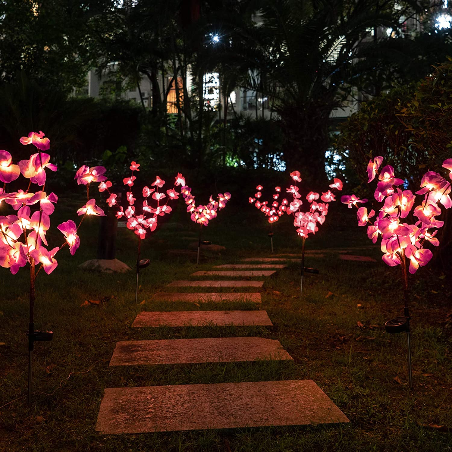 Fuchsia Solar Garden Lights Outdoor Stake Bright LED Solar Powered Landscape Lights for Pathway,Yard,Patio,Deck,Walkway Christmas Decoration Two Mode Solar Tree Lights