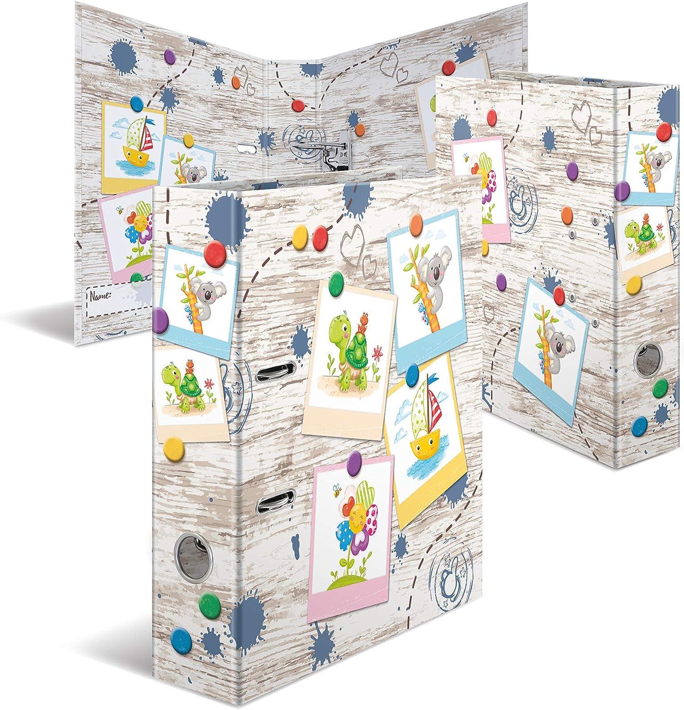Aktenordner Briefordner HERMA 19816 Motiv-Ordner DIN A4 Kindergarten 10er Set 10 Ordner 7 cm breit aus stabilem Karton mit hochwertigem Innendruck und Namensfeld Ringordner