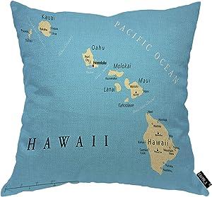 EKOBLA Hawaii Political Map Throw Pillow Cover Kauai Oahu Molokai Maui Pacific Cities and Volcanoes Cozy Square Cushion Case for Men Women Boys Girls Room Home Decor Cotton Linen 18x18 Inch