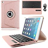 iPad Mini 4 Keyboard, KVAGO Stylish Slim 360 Rotating Stand Magnetic Detachable Wireless Bluetooth Keyboard Cover Shell PU Leather Keyboard Swivel Case for Apple iPad Mini 4 A1538 A1550 Rose Gold