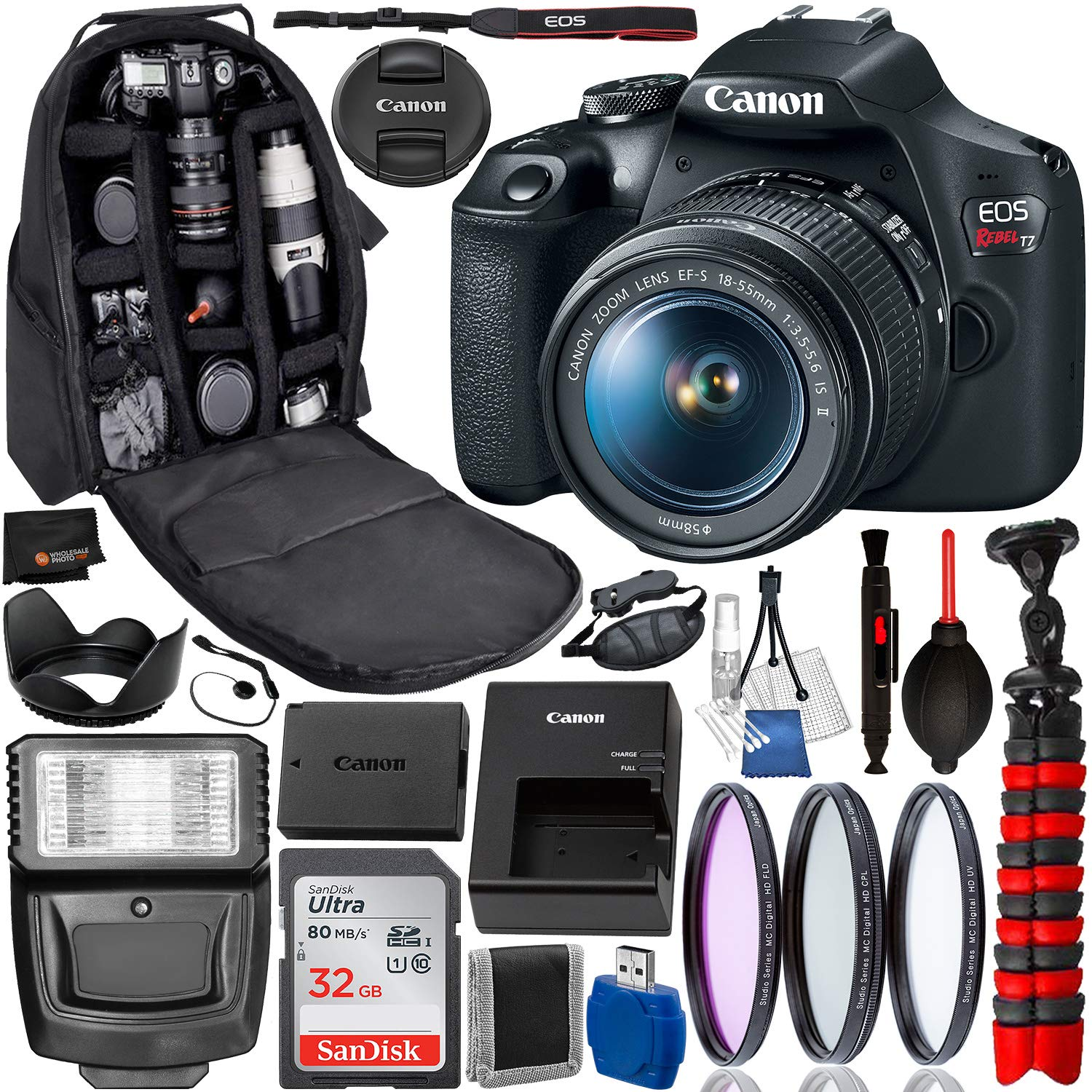 Canon EOS Rebel T7 DSLR Camera with 18-55mm Lens(2727C002 USA) Professional Bundle Package Deal - 2727C002 - USA Warranty - SanDisk Ultra 32GB SDHC Memory Card + Professional Backpack + More by Canon