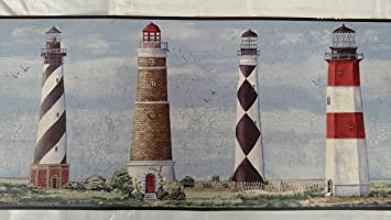 Wallpaper Border Designer Country Lighthouses on Coast with Maroon Trim