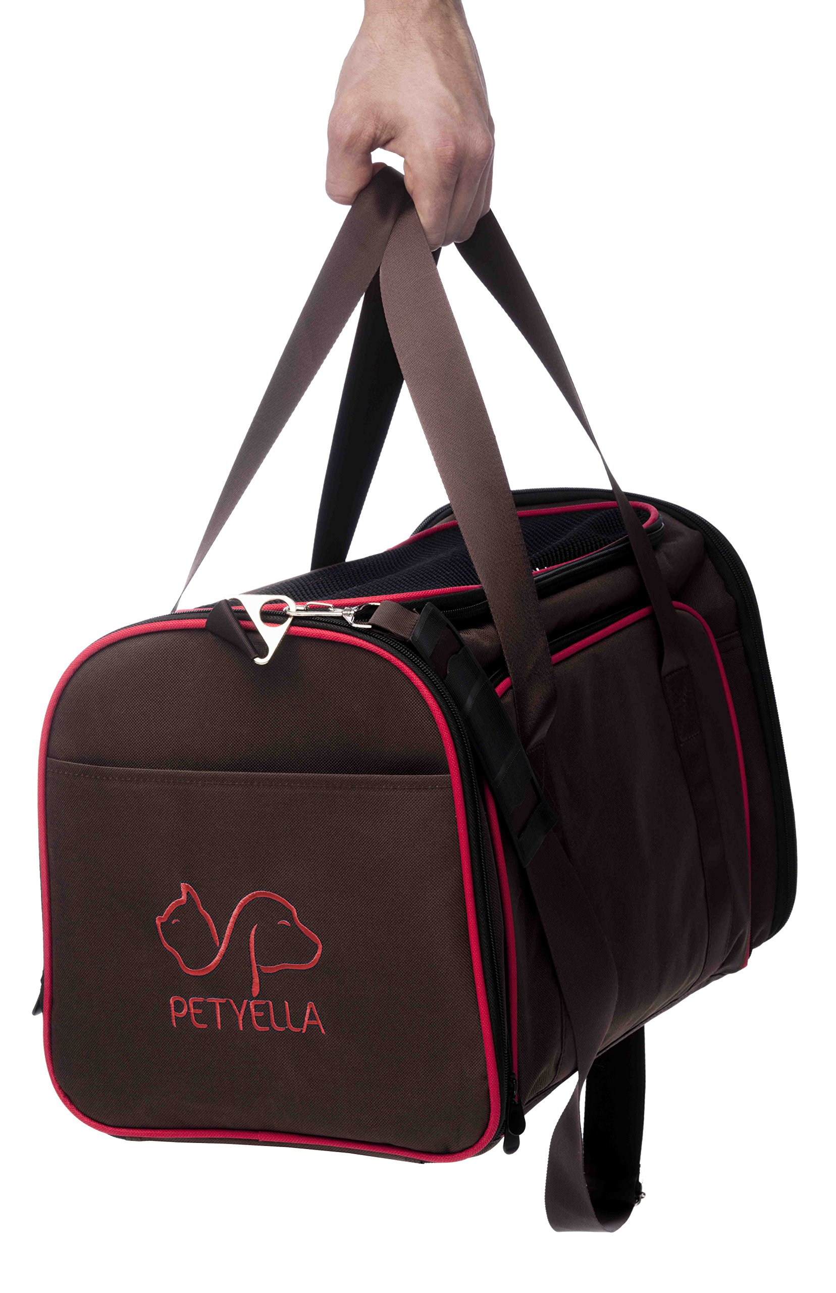 Petyella Cat Carrier Pet Carrier for Small Dogs and Cats Expandable Soft Sided Crate for Pet - Airline Approved Medium Kennel Travel Bag - 2.8 lbs Dog Carriers with Bonus Blanket and Bowl,Dark Brown by Petyella (Image #9)