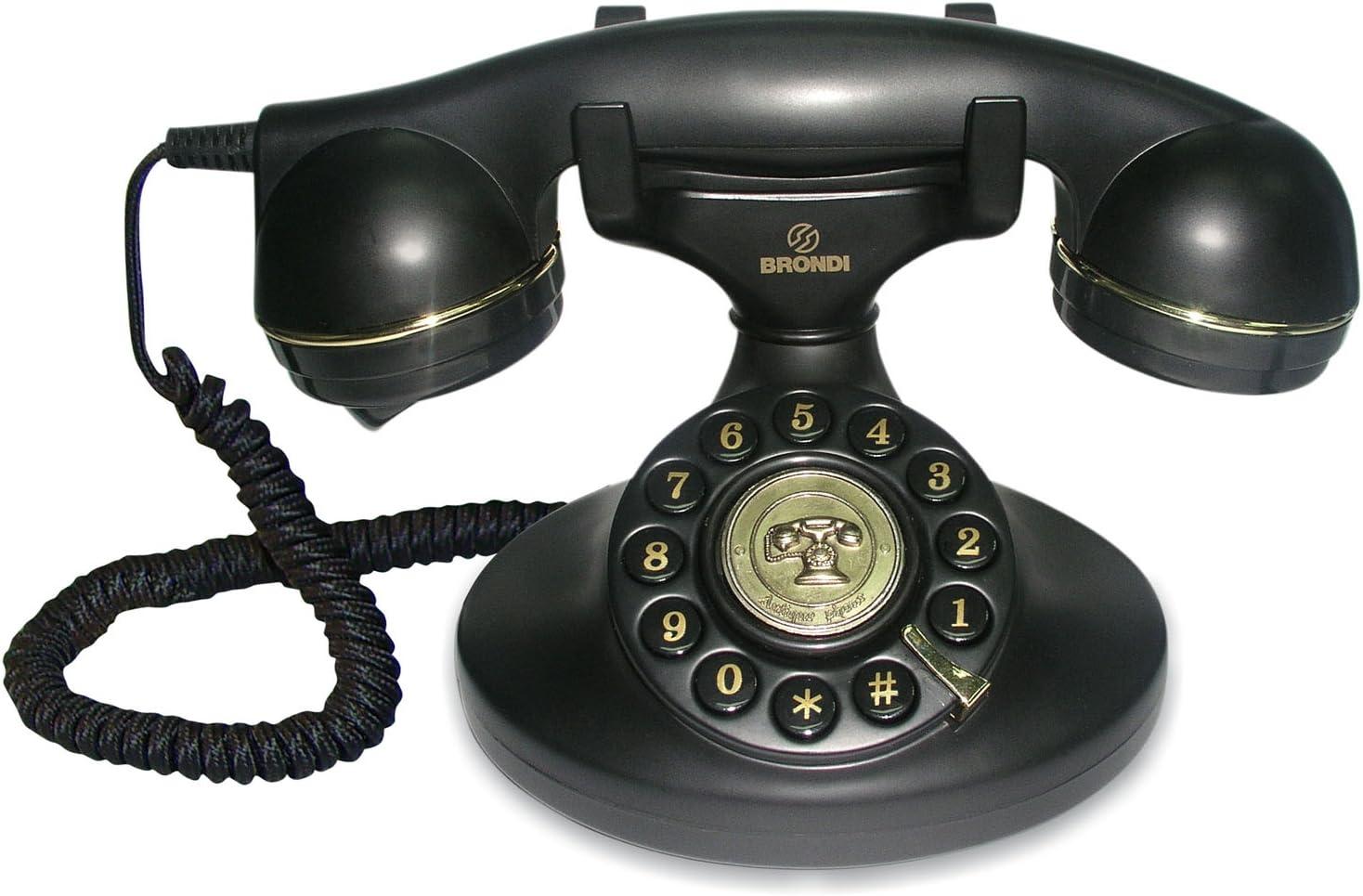 Brondi Vintage 10 - Teléfono fijo analógico, color negro