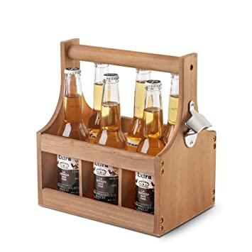 Wooden Beer Carrier 6 Six Pack Bottle Caddy Tote Holder With
