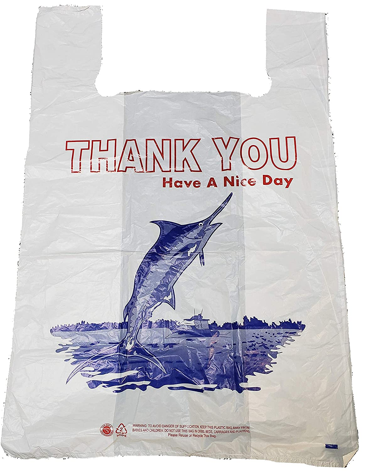 White Marlin Thank-you T-shirt Biodegradable Shopping Bags (11.5x6x21 -14 Mic) - 500 Bags by JS Collections B00PYSX88Y