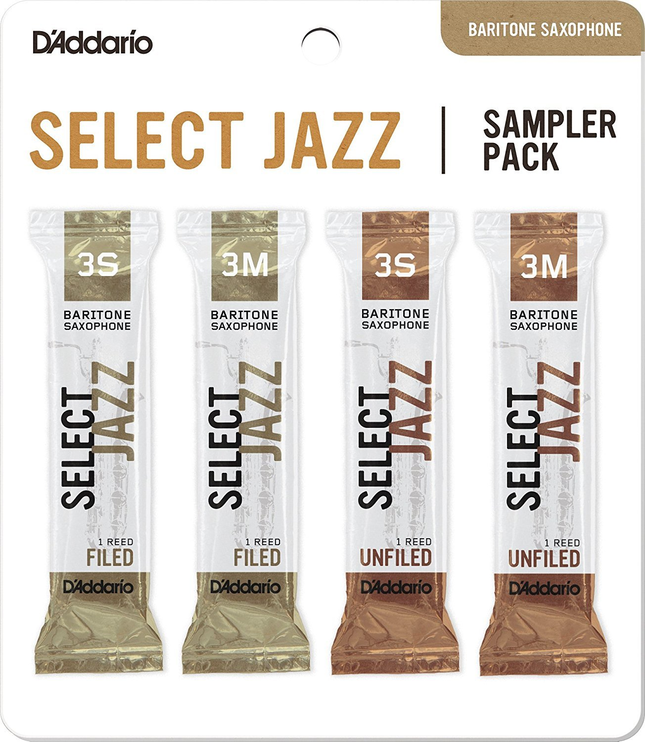 D'Addario Woodwinds DSJ-L3S Select Jazz Baritone Saxophone Reed Sampler Pack, 3S/3M D'Addario &Co. Inc