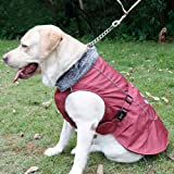 Kuoser outdoor Cotton Thickened Fleece Lining 100% waterproof Dog Vest Winter Coat Warm Dog Apparel for Cold Weather Dog Jacket for Small Medium Large dogs with Furry Collar ( S -3XL ),Red 3XL