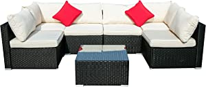 Outdoor Patio Furniture PE Rattan Wicker Sectional Cushioned Sofa Sets with 2 Pillows (7 Pieces, Beige)