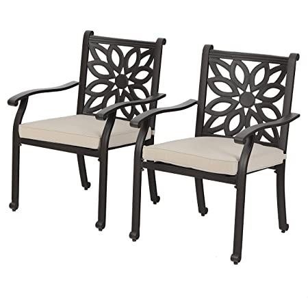 PHI VILLA Outdoor Patio Cast Aluminum Extra Wide Armrest Dining Chairs with Cushion Set of 2 – Frosted Surface