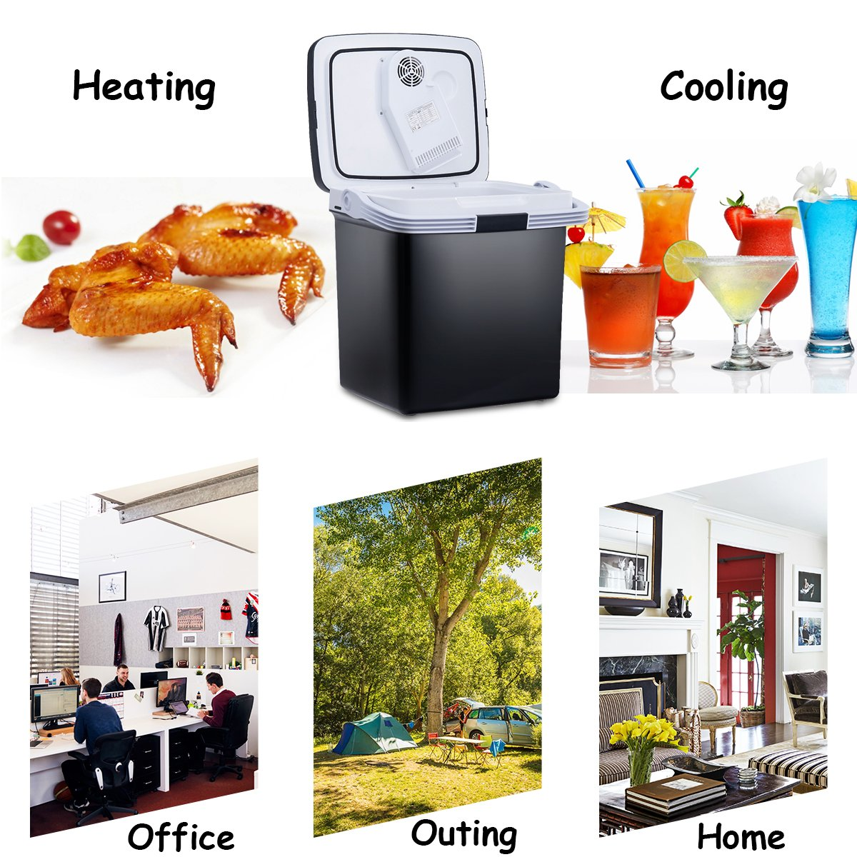 Costway Portable Fridge Cooler and Warmer 27.5 Quarts Electric Mini Thermoelectric Dual Cooling Warming Digital Plug In Refrigerator for Car, Travel, Beach, Office (Black) by COSTWAY (Image #2)
