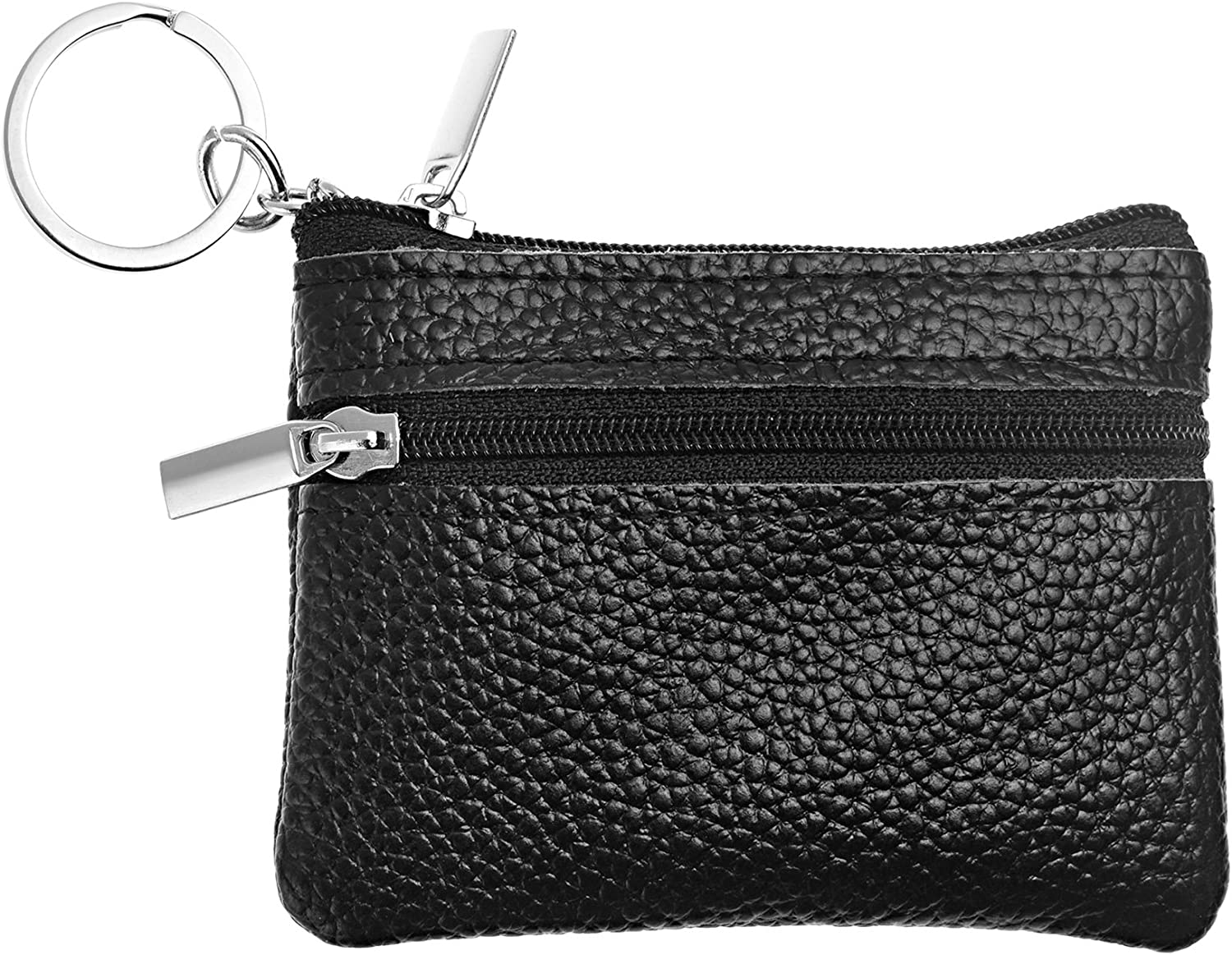 Black BCP Mens Soft Genuine Leather Zipper Coin Pouch Purse Change Wallet with Key Ring