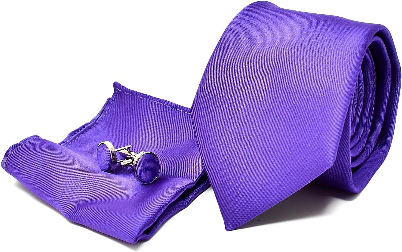 Oxford Collection Corbata de hombre, Pañuelo de Bolsillo y Gemelos Púrpura - 100% Seda - Clásico, Elegante y Moderno - (Caja y Conjunto de Regalo, ...