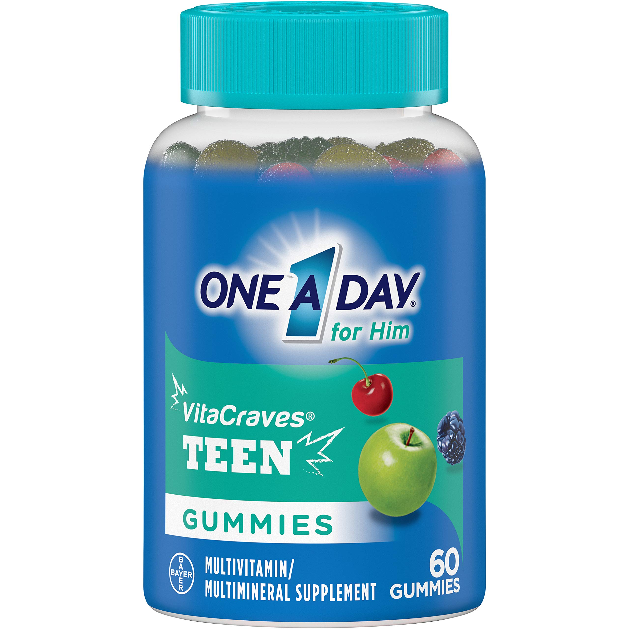 One A Day Teen for Him Multivitamin Gummies, Supplement with Vitamin A, Vitamin C, Vitamin D, Vitamin E and Zinc for Immune Health Support* & more, 60 Count