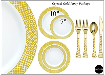 Royalty Settings Crystal Collection Plastic Cutlery and Plates Set Party Package for 120 Persons Includes  sc 1 st  Amazon.com & Amazon.com: Royalty Settings Crystal Collection Plastic Cutlery and ...