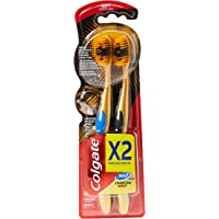 Colgate Toothbrush 360 Charcoal Gold, Assorted Colors, Pack of 2