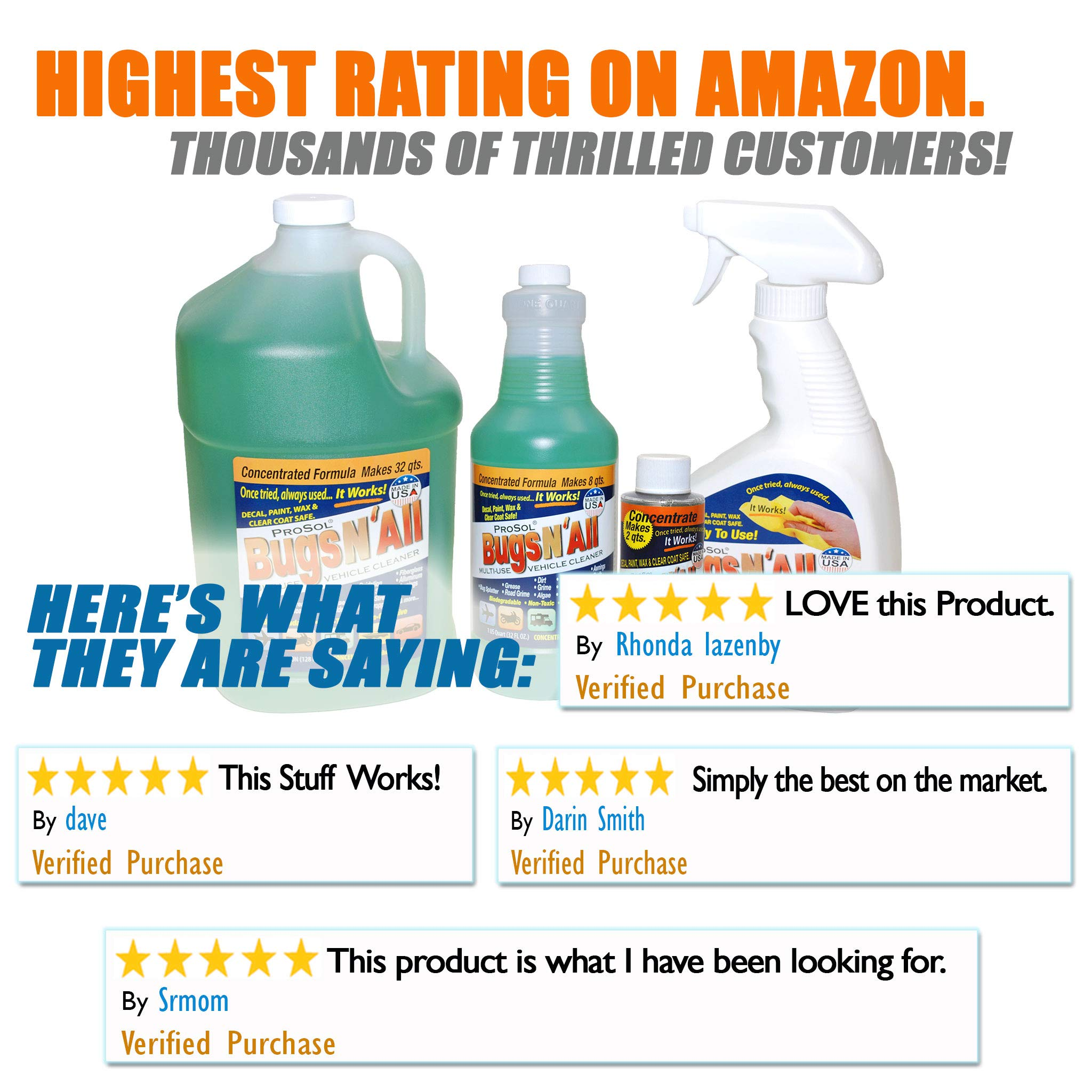 Bugs N All 1 Gal. Concentrate Makes 32 Qts. Pre-Wash Vehicle Cleaner - Bug Splatter and Black Streak Remover. Includes an Empty 32 oz. Spray Bottle - Will Not Remove Wax! by ProSol (Image #6)