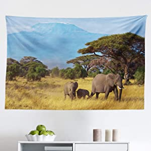 """Lunarable Safari Tapestry, Elephant Family in Front of Kilimanjaro Mounts Savannahs Wild Nature Scene, Fabric Wall Hanging Decor for Bedroom Living Room Dorm, 45"""" X 30"""", Yellow Blue"""