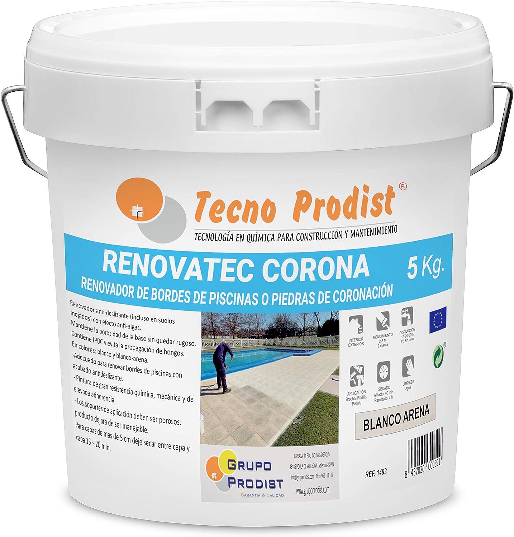 RENOVATEC CORONA de Tecno Prodist - (5 kg) BLANCO ARENA Pintura para renovar bordes de piscinas o piedra de coronación - Antideslizante - Antialgas - Buena Calidad - Fácil Aplicación