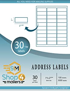 "Shop4Mailers 30-Up White Shipping Labels 1"" x 2 5/8"" ~ 100 Sheets, 3000 Labels"