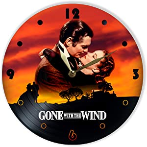 """Leooolukkin Gone with The Wind Vinyl Clock 12"""", Wall Clock Painted Gone with The Wind, Original Gifts, The Best Gift for American Epic Historical Romance Film Lovers, Unique Wall Art Home Decor"""