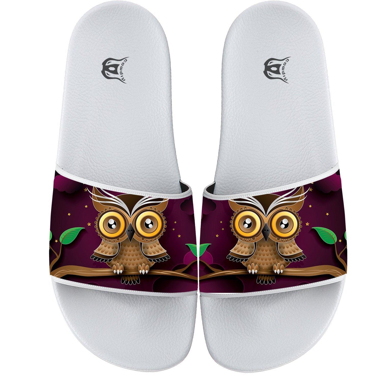5a1e20711 Cartoon Owls Pattern Womens Flip-Flops Sandals White Slides Sandal Casual  Beach Slippers - Casual Women s Shoes