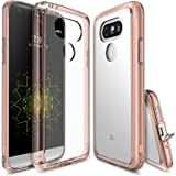 LG G5 Case, Ringke [FUSION] Crystal Clear PC Back TPU Bumper [Drop Protection / Shock Absorption Technology][Attached Dust Cap] For LG G5 2016 - Rose Gold Crystal