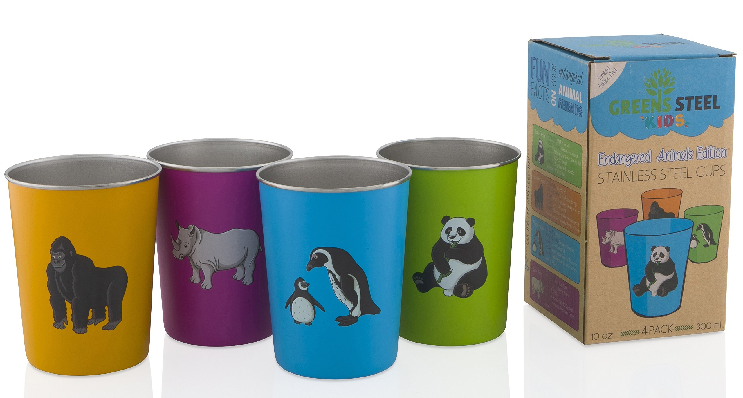 Greens Steel 10oz Stainless Steel Cups for Kids - Metal Cup - Fun Animal Edition (4 Pack)