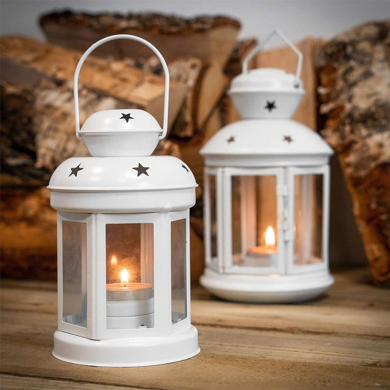 Nicola Spring Candle Lanterns Tealight Holders Metal Hanging Indoor Outdoor Set of 6 Blue 16cm
