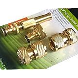 Tech Traders ® Set di 4 raccordi per tubi, in ottone, ad innesto rapido, per rubinetti e tubi da giardino, con ugello atomizzatore spray incluso.
