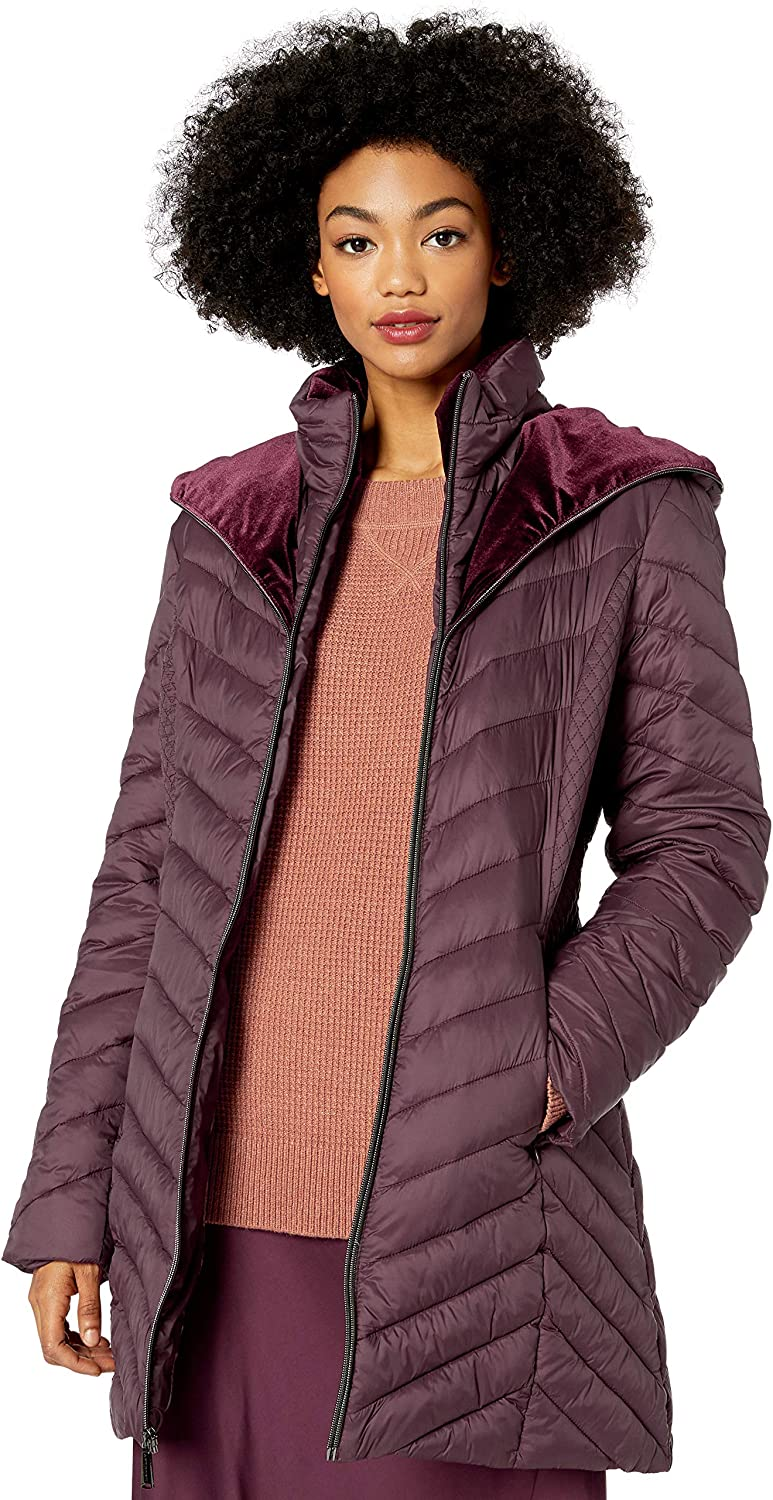 Laundry by Shelli Segal Women's Lightweight Puffer Jacket with Velvet