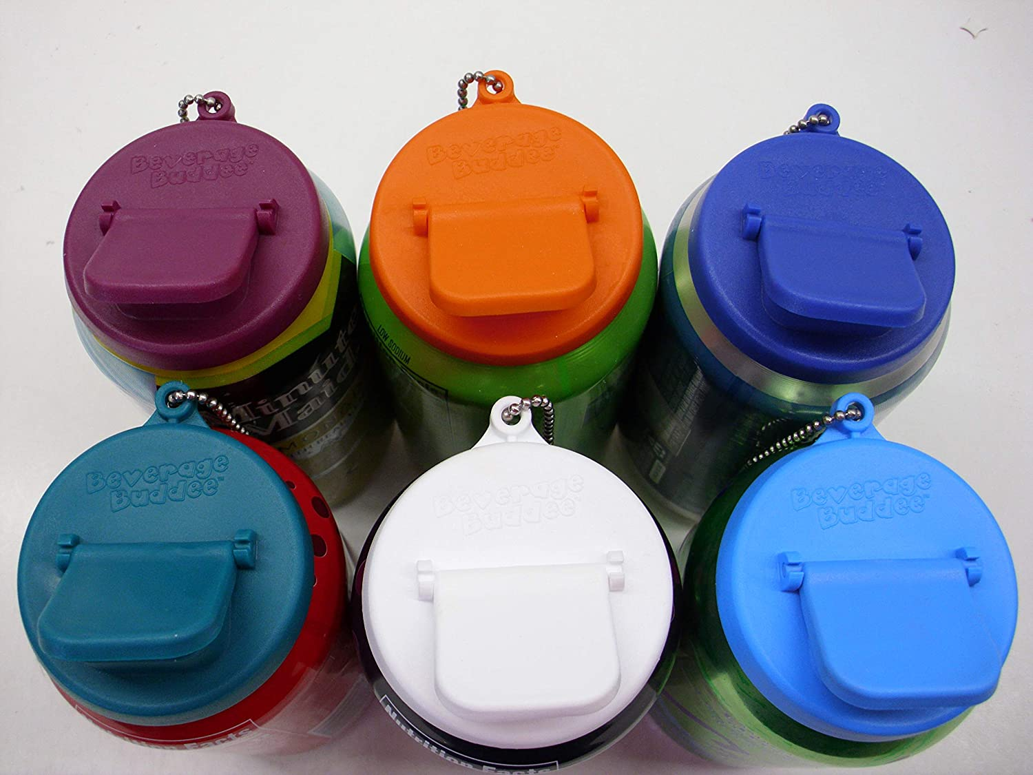 Beverage Budde Can Cover - Can Cover For Standard Size Soda/Beer/Energy Drink Cans - Made In The USA - BPA-PCB Free - Assort Colors - 6 pack (Keychain)