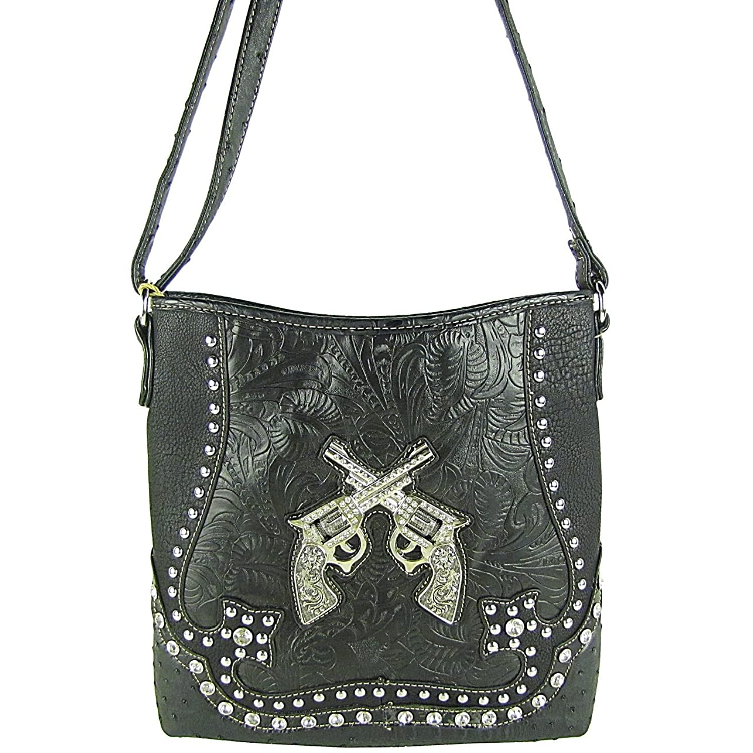 SS Rhinestone Gun Pistols Messenger Cross Body Bag Western Purse Black