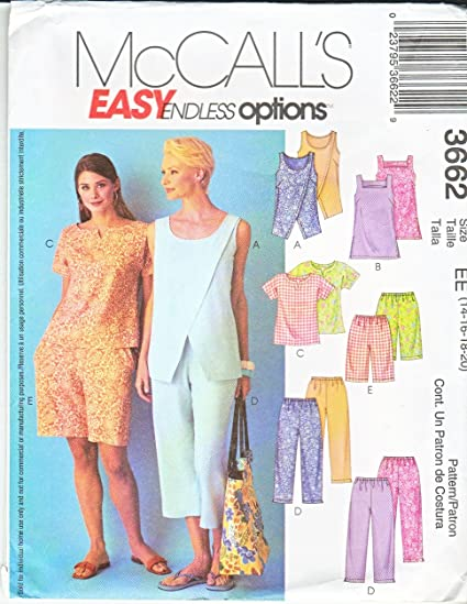 B Size 8 10 12 McCalls Sewing Pattern 8248 Misses Tops /& Pull-on Shorts