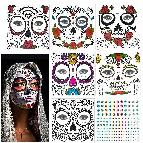 Etiqueta Temporal, KATOOM, 6pcs, Tatuaje Cara Carnaval, Diseño ...