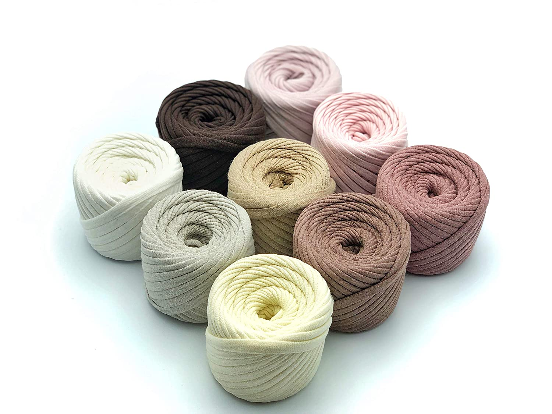 Knitting Yarn Ball Tshirt Yarn Kit for Crocheting 9 Balls Total of 196 Yards T-Yarn Kate Set T-Shirt Yarn Fettuccini Zpagetti Set T Yarn Organic Ribbon Yarn 100/% Cotton