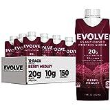 Evolve Plant Based Protein Shake, Berry Medley, 20g Vegan Protein, Immune Support, Vitamin C & Zinc, Dairy Free, No Artificia