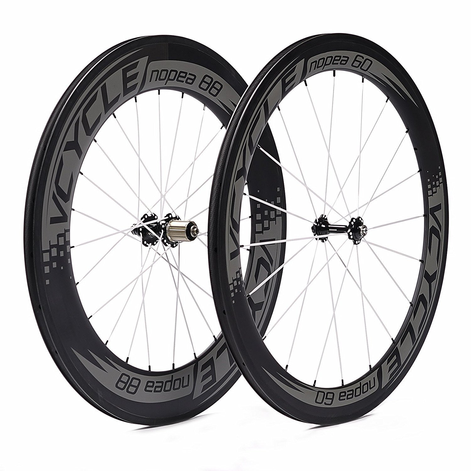 VCYCLE Nopea 700C Road Bike Carbon Wheelset in Bicycle Wheel Clincher Front 60mm Rear 88mm Shimano or Sram 8 9 10 11 Speed
