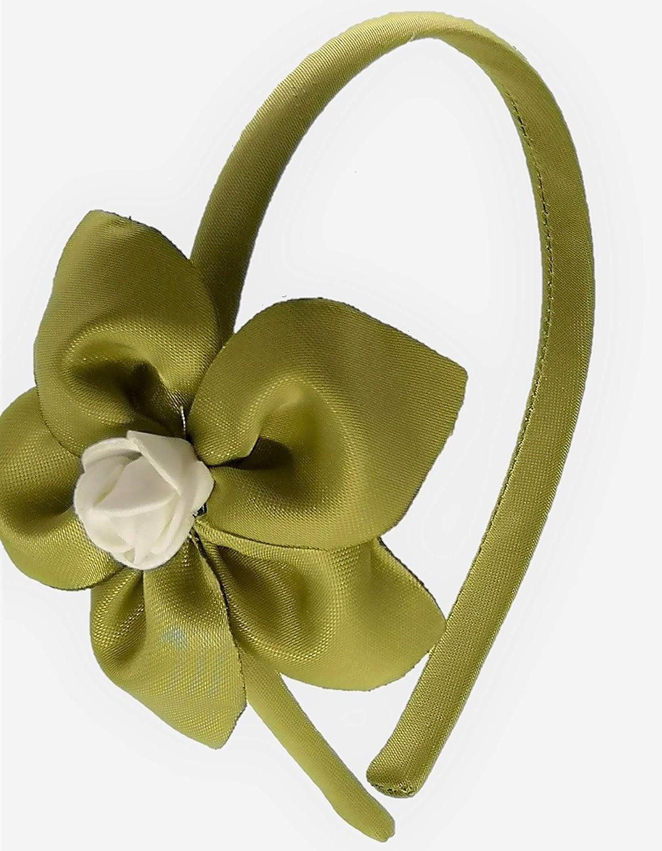 Cerchietto per capelli bambina con fiore Verde fatto a mano
