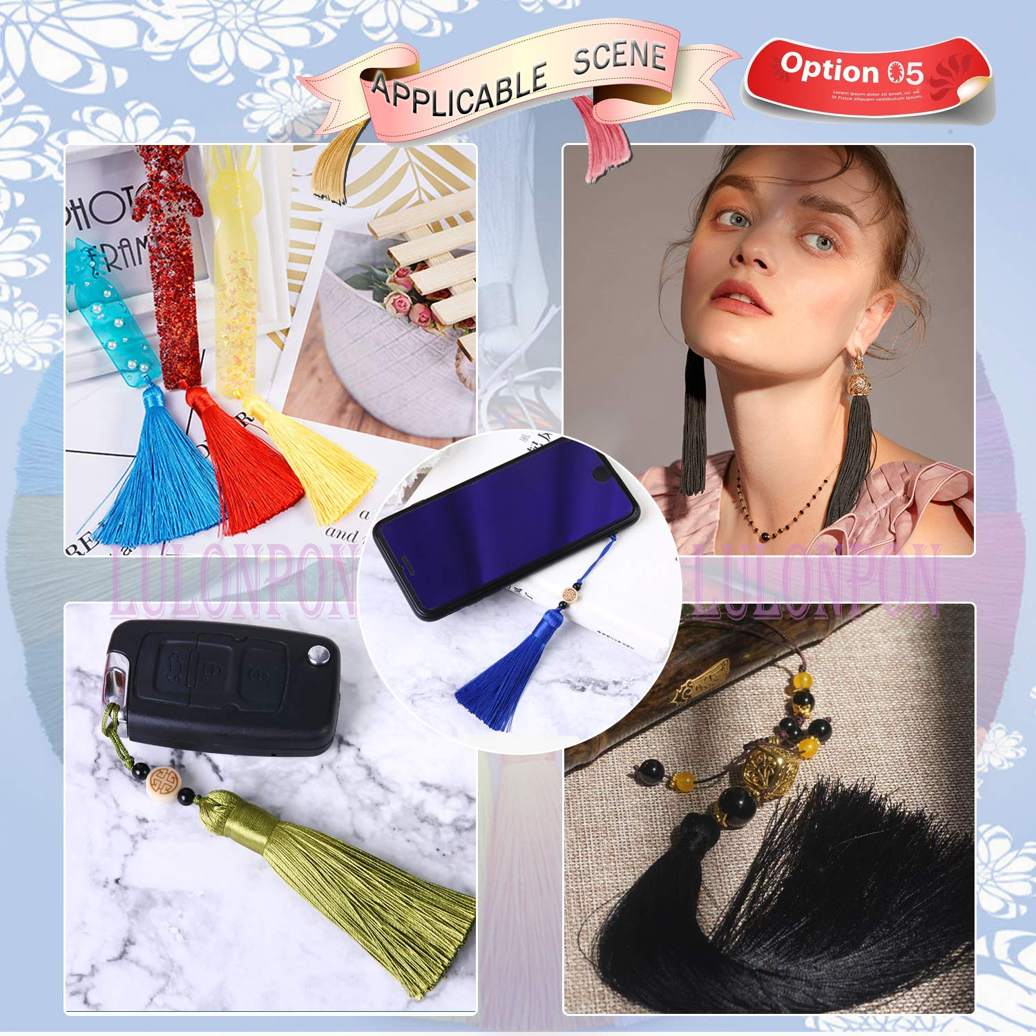 Black 10pcs-6.3in Lulonpon Ice Fringe Tassels,10 Pcs16cm//6.3in Wrinkle-Resistant Vertical Hanging Ears Bookmarks Clothing Hairpins Handcrafted Fur Jewelry DIY Project
