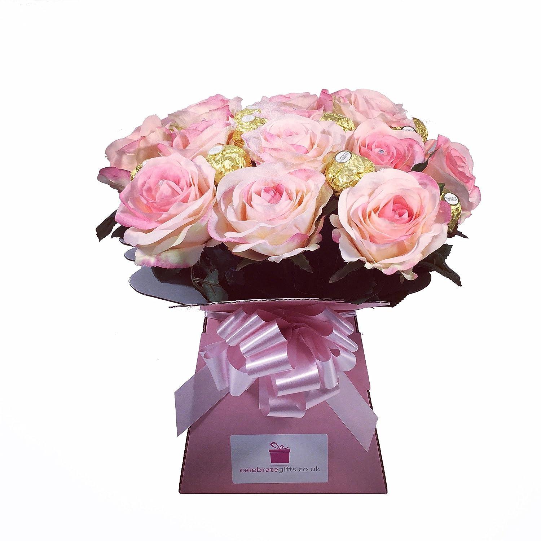 Diamante premium silk pink roses and ferrero rocher chocolate diamante premium silk pink roses and ferrero rocher chocolate bouquet amazon grocery izmirmasajfo Images