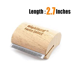Highland Farms Select Wood Groom Brush, Deshedding Grooming Tool, Professional Pet Wooden Groomer, Ergonomic Design, No Hurt for Dogs, Cats and Horses - 5 Inch