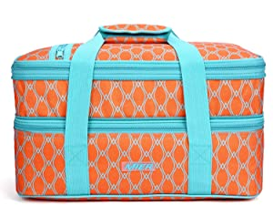 "MIER Insulated Double Casserole Carrier Thermal Lunch Tote for Potluck Parties, Picnic, Beach - Fits 9""x13"" Casserole Dish, Expandable, Orange"