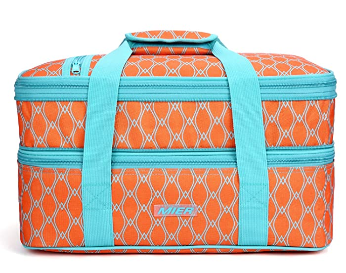 """MIER Insulated Double Casserole Carrier Thermal Lunch Tote for Potluck Parties, Picnic, Beach - Fits 9""""x13"""" Casserole Dish, Expandable, Orange"""