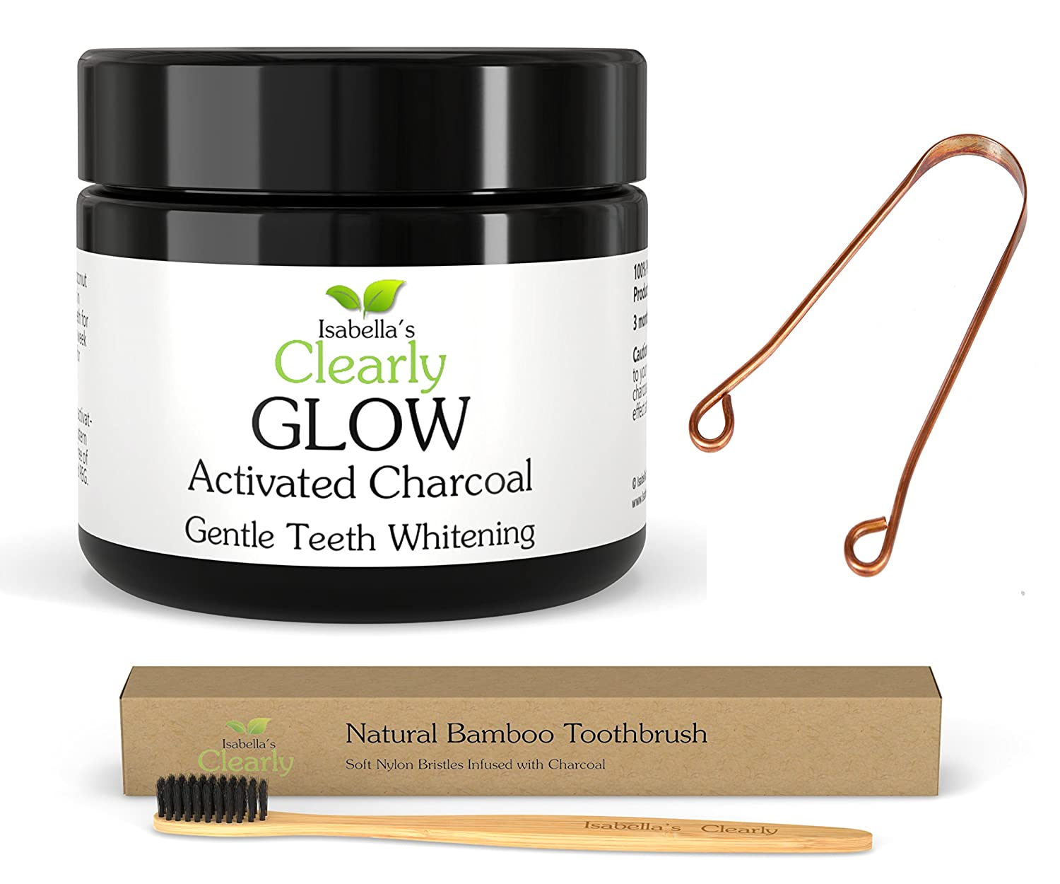 Isabella's Clearly Oral Care 4-Piece Kit - GLOW Teeth Whitening Activated Charcoal + BAMBOO Soft Toothbrush with Charcoal Infused Bristles + COPPER Tongue Scraper + Reusable Eco-Friendly Gift Bag. Natural, Food-Grade, Non-GMO, BPA Free. Isabella' s Cle