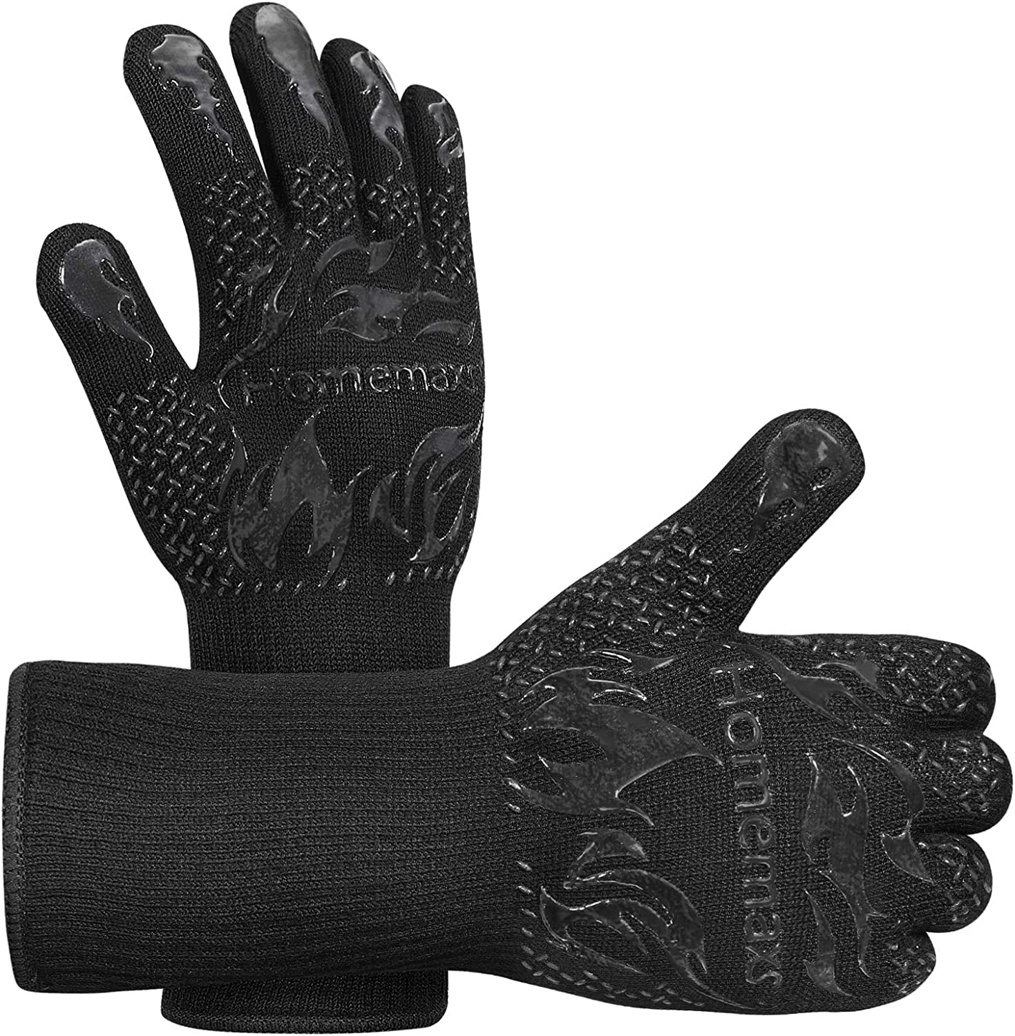 Homemaxs BBQ Gloves 1472℉ Extreme Heat Resistant Grill Gloves, Food Grade Kitchen Oven Mitts, Silicone Non-Slip Cooking Gloves for Barbecue, Cooking, Baking, Welding, Cutting, 14 Inch (3-Black)