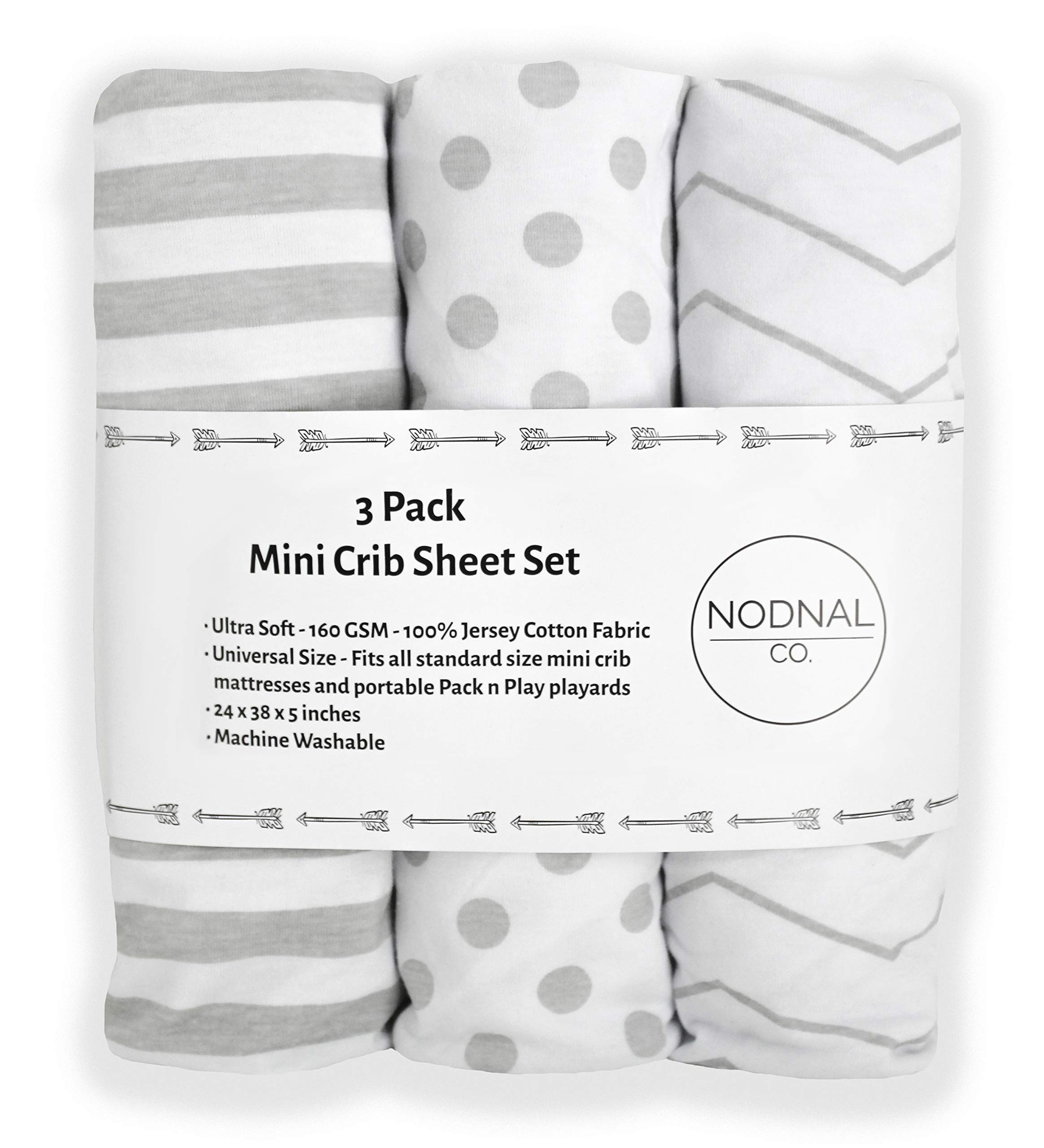 NODNAL CO. Pack n Play Playard Portable Mini Crib Fitted Sheets Set 3 Pack 100